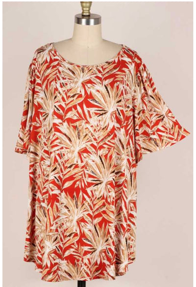 65 PSS-F {Potential Impact} Rust Tropical Print Tunic EXTENDED PLUS SIZE 3X 4X 5X
