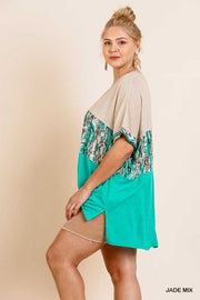 CP-S ( Wild Side) Mint & Beige Snake Skin Printed Top PLUS SIZE XL, 1X, 2X SALE!!