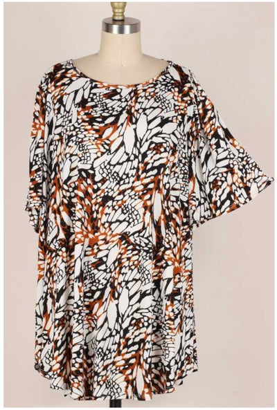 65 PSS-K {Play For Keeps} Multi-Animal Print Top EXTENDED PLUS SIZE 3X 4X 5X