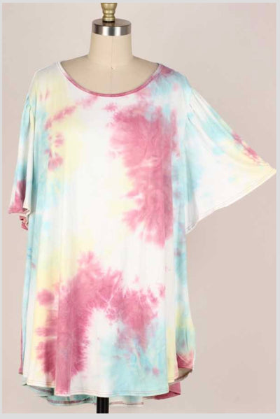65 PSS-V {Say The Right Things} Multi Tie-Dye Top EXTENDED PLUS SIZE 3X 4X 5X