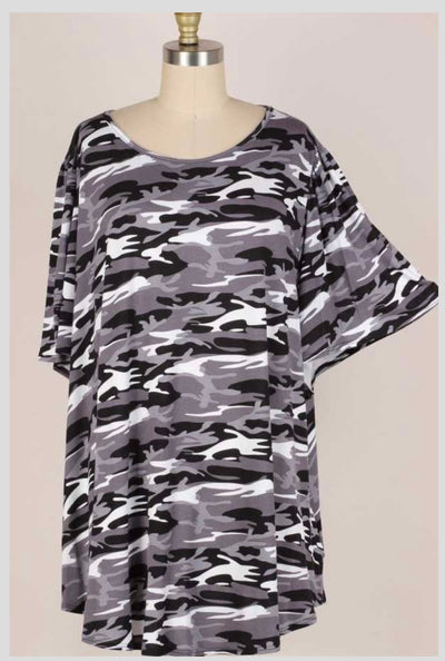 65 PSS-T {God's Country} BLACK CAMO Print Top EXTENDED PLUS SIZE 3X 4X 5X