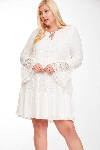 SLS-Z {Rarest Thing} Ivory V-Neck Dress W/Lace Detail PLUS SIZE 1X 2X 3X