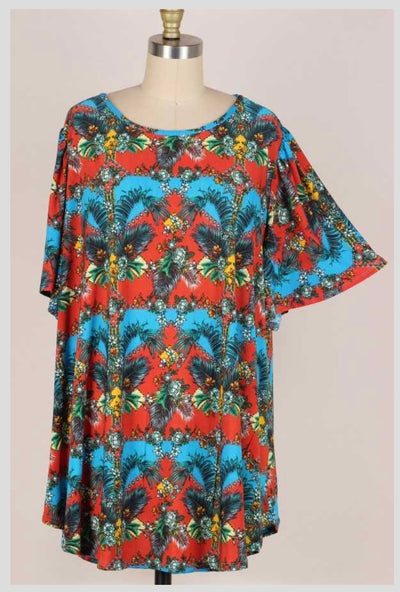 65 PSS {Where I Wanna Be} Tropical Multi Print Top EXTENDED PLUS SIZE 3X 4X 5X