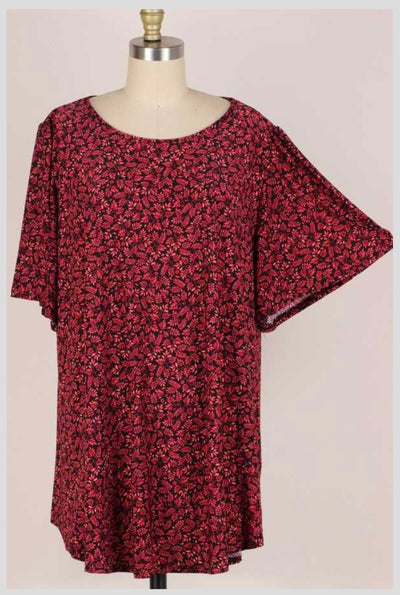 65 PSS-L {Casual Confidence} RED Floral Top EXTENDED PLUS SIZE 3X 4X 5X