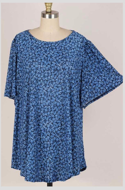 65 PSS-G {Casual Confidence} BLUE Floral Top EXTENDED PLUS SIZE 3X 4X 5X