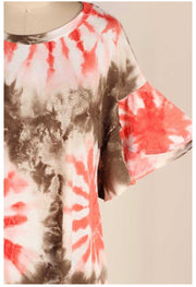 PSS-C (Eternal Sunshine) Tie Dye Tunic W/ Bell Sleeve PLUS SIXE 1X 2X 3X