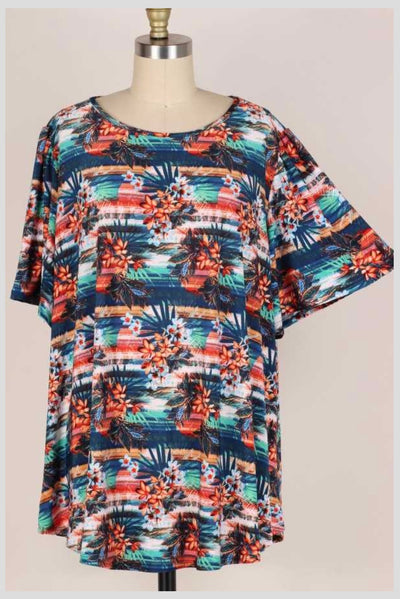 65 PSS-H {Everyday In Paradise} Tropical Print Top EXTENDED PLUS SIZE 3X 4X 5X