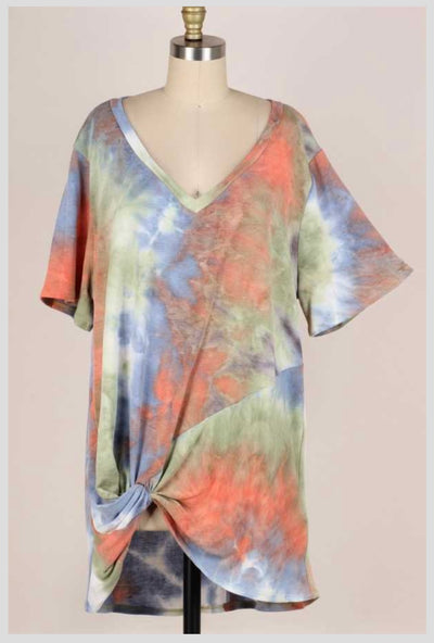 65 PSS-N {You Already Know} Tie-Dye V-Neck Top EXTENDED PLUS SIZE 3X 4X 5X