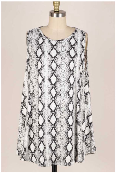 65 SV-K {River Of Dreams} Snakeskin Print Sleeveless Top EXTENDED PLUS SIZE 3X 4X 5X