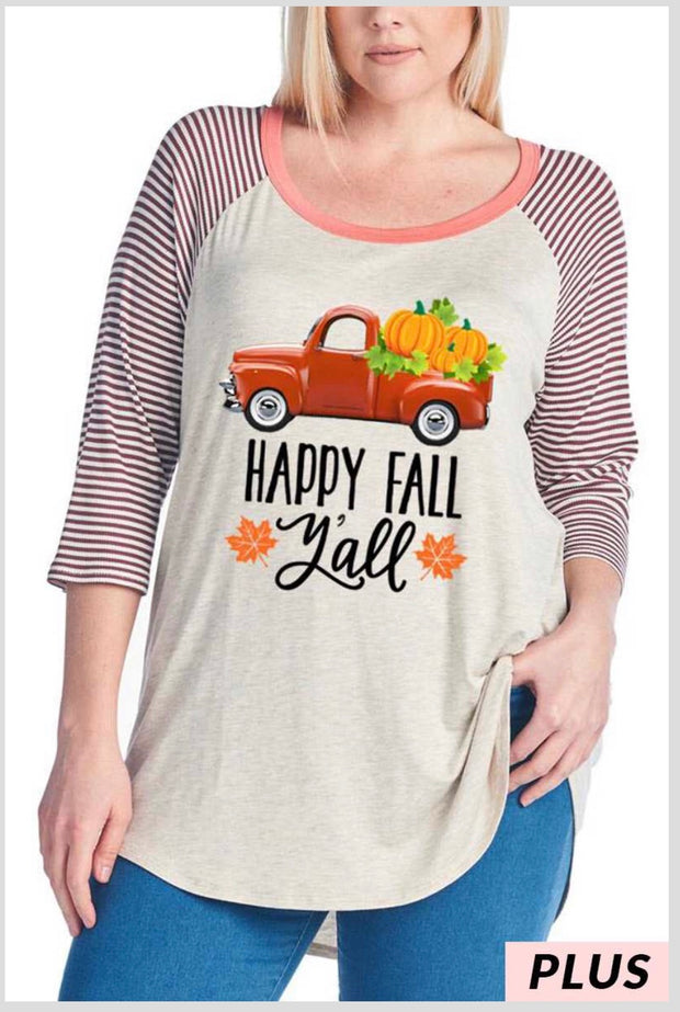GT-A {Happy Fall Y'all} Oatmeal Contrast Graphic Tee