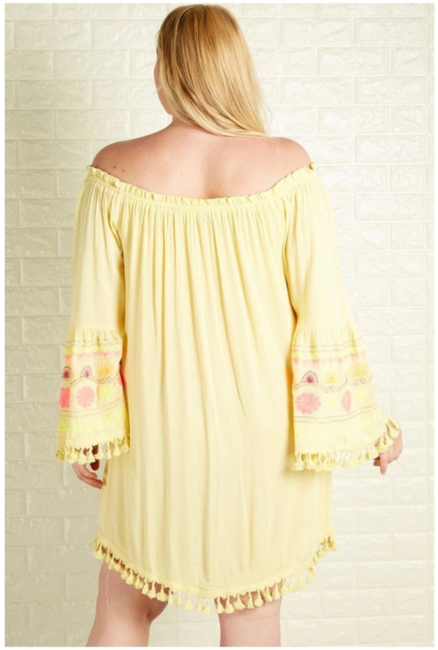 CP-C (Brighter Than Sunshine) SALE!! Yellow Dress With Flower Contrast PLUS SIZE XL 1X 2X 3X