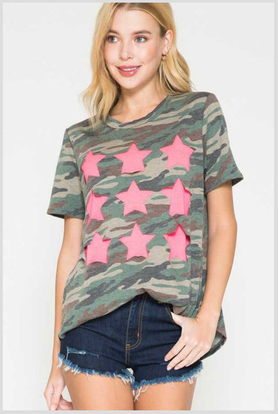 65 CP-V {Wild Times Ahead} Camo Top with Neon Pink Stars PLUS SIZE 1X 2X 3X