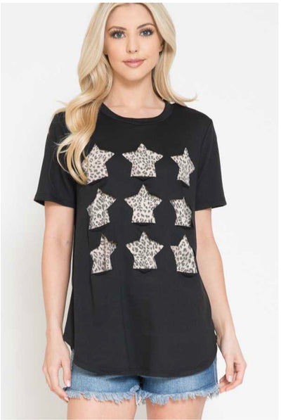 65 CP-H {Wild Times Ahead} Black Top with Leopard Stars PLUS SIZE 1X 2X 3X
