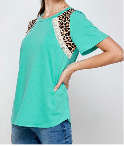 65 CP-T {Our Best Years} Teal Top with Leopard Detail PLUS SIZE 1X 2X 3X