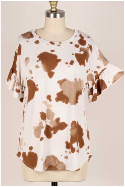 65 PSS-V {MoooVe On Over} Cow Print Top PLUS SIZE 1X 2X 3X