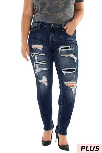 BT-H {Turn It Up} Distressed Stretchy Denim Jeans