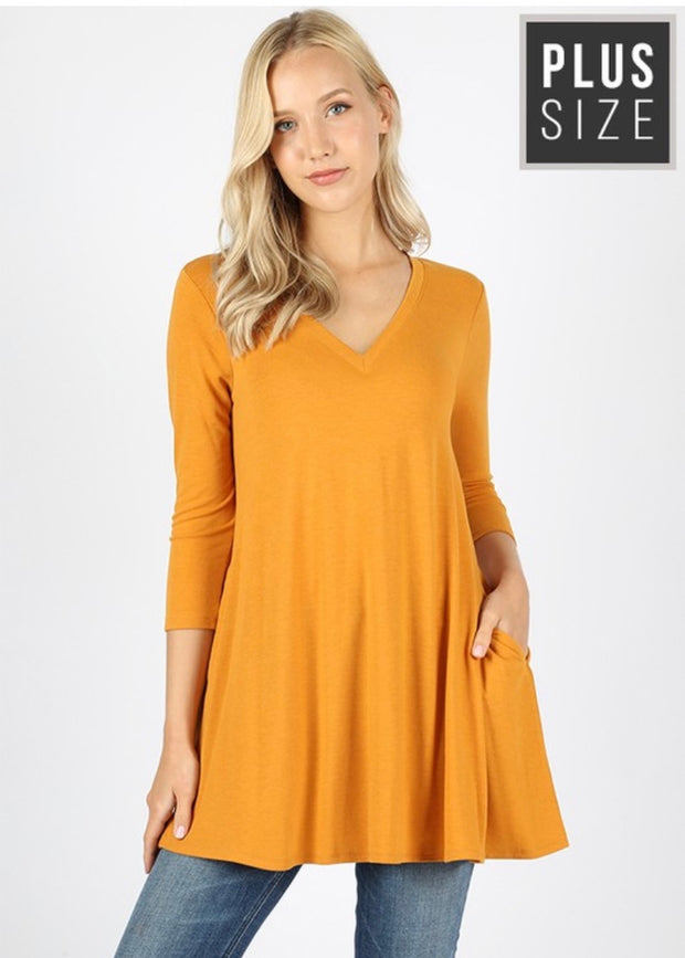 SQ-M {Simple Moments} Mustard V-Neck Tunic with Pockets