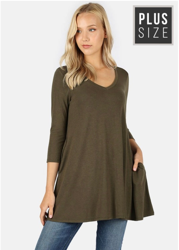 SQ-O {Simple Moments} Olive V-Neck Tunic with Pockets