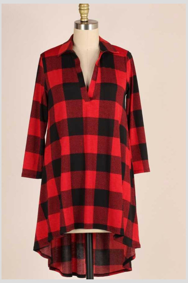 PLS-RB {Keeping Score} Red Plaid Hi-Lo Top V-Neck Collar Extended Plus