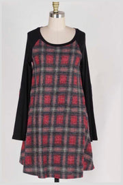 CP-B {Where To Next} Red Plaid Knit Dress with Black Sleeves SALE!!