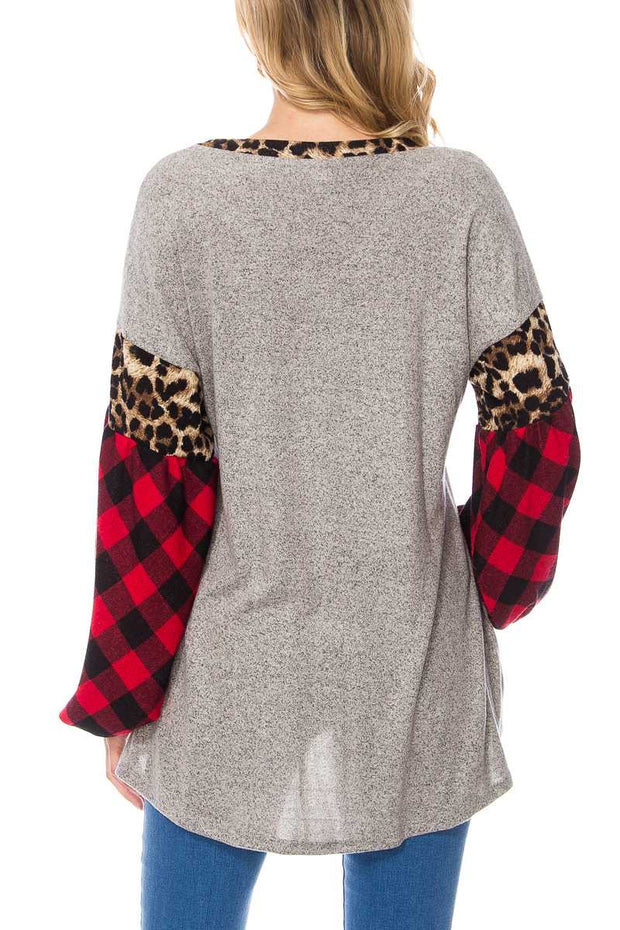 CP-Y {You Glow Girl} V-Neck Tunic Leopard & Plaid Contrast Extended Plus