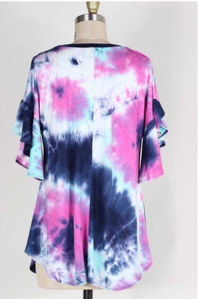 PSS-O {Laugh It  Off} Tie-Dye Top with Split Flare Sleeves