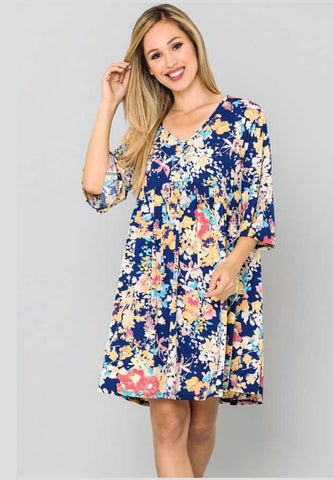 PQ-M {Forever Young} Navy/Multi Floral Babydoll Dress