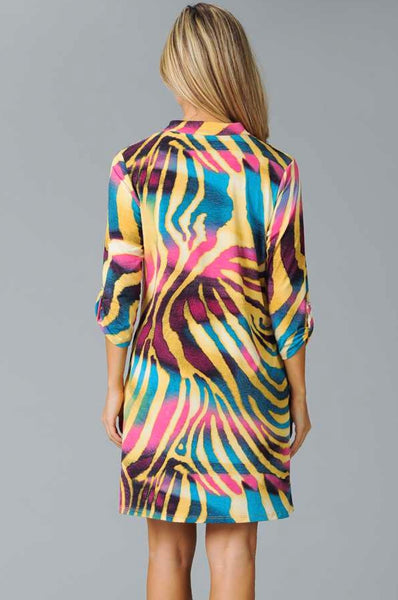 PQ-N {Stay Wild} Psychedelic Multi-Print V-Neck Dress