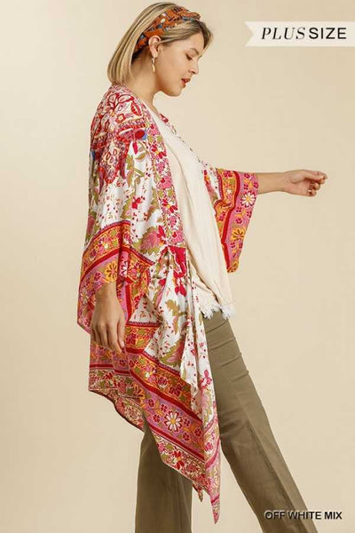 "64 OT-N {Plan Of Action} ""UMGEE"" Floral Kimono Cardigan PLUS SIZE XL/1XL or 1XL/2XL"