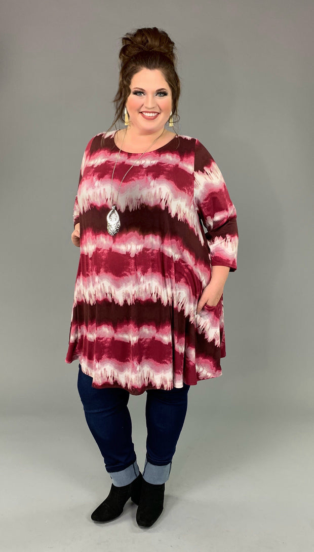 PQ-P {Know Your Path} Burgundy Tie-Dye Tunic Back Detail