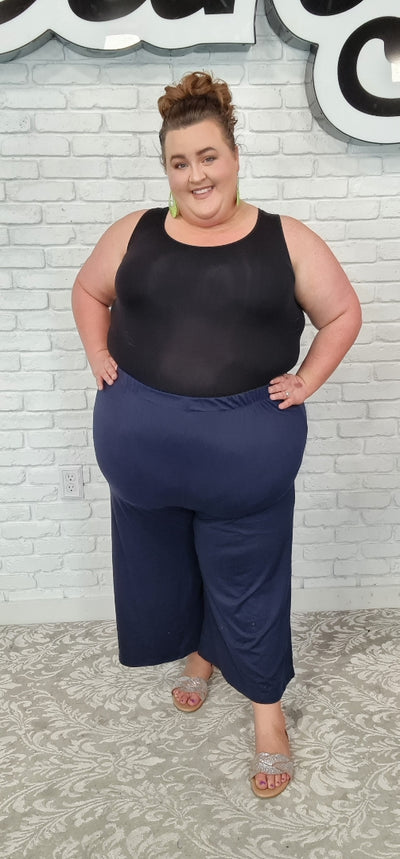 65 BT-Z {Strut In Style} NAVY Flared Leg Capri Pants EXTENDED PLUS SIZE 4X/5X or 5X/6X