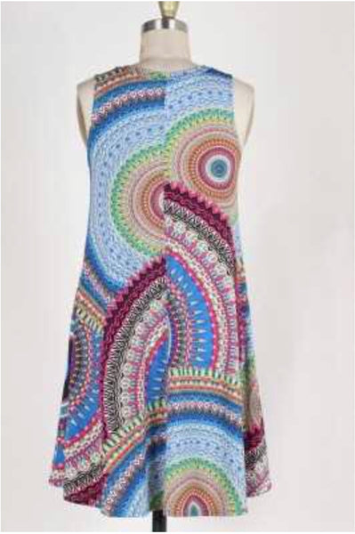 SV-B {Glossy Glam} Mandala Print V-Neck Dress