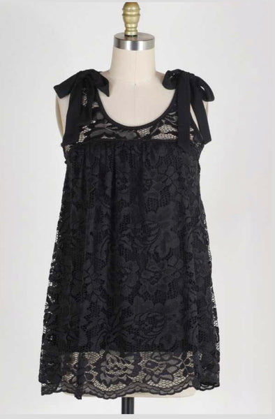 SV-B {All Of You} Sleeveless Black Lace Top with Bow Detail