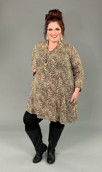 PQ-C {Downtown Feels} Soft Leopard Print Hi-Lo V-Neck Dress