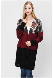 OT-D {Set The Scene} Aztec Colorblock Knit Cardigan Extended Plus