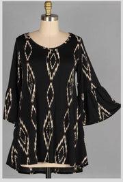 PLS-T {Picture Perfect} Black Bell Sleeve Tunic with Designs