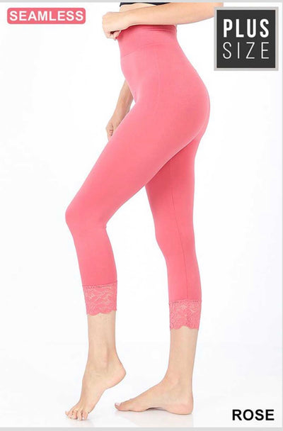 SD/25 Rose Lace Hem Capri Leggings