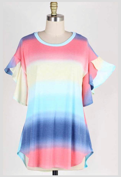 PSS-A {Long Way Home} Rainbow Tunic W/ Cascading Sleeves