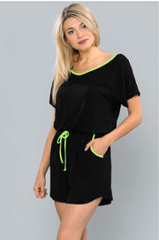 RP-G {Wild Imagination} Black Romper W/ Neon Detail Extended Plus SALE!!