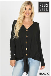 SLS-A {Simpler Times} Black Button Front Top with Tie  SALE!!
