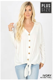 SLS-C {Simpler Times} Ivory Button Front Top with Tie  SALE!!