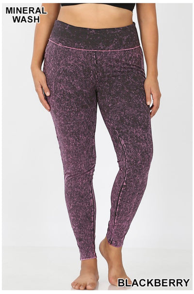 BT-R {Passport In Hand} Blackberry Mineral Wash Yoga Leggings PLUS SIZE SALE!