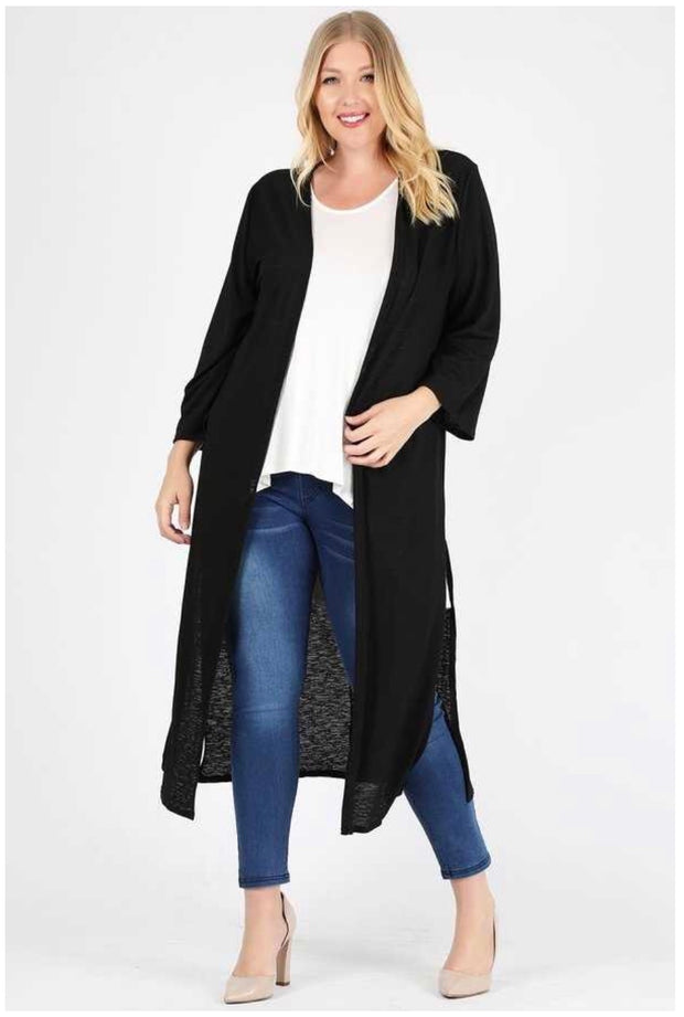 OT-D {I Can Only Imagine} Long Solid Black Cardigan