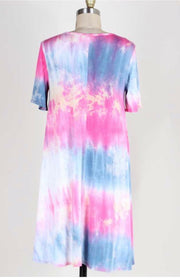 PSS-L {Beautiful Life} Pink & Blue Tie-Dye Hi-Lo Tunic FLASH SALE!!