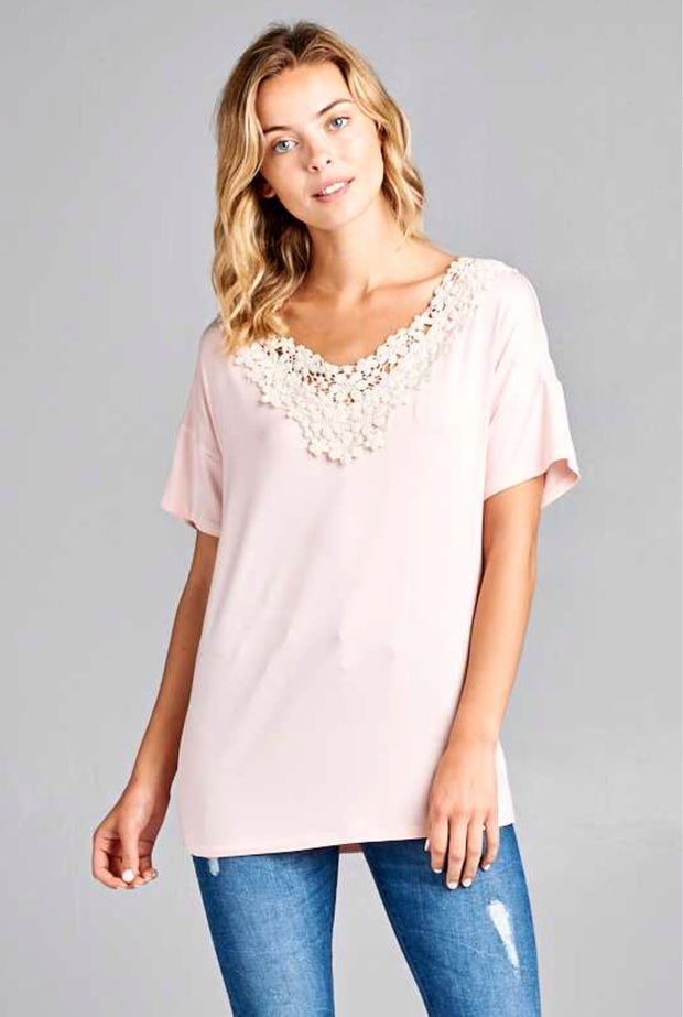 CP-M {Loving Is Easy} Blush Top with Crochet Lace Detailed Collar FLASH SALE!