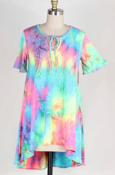 PSS-R {Your True Colors} Bright Neon Tie-Dye Hi-Lo Tunic