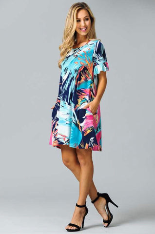 PSS-P {Splish-Splash} Aqua Blue Multi Print Dress with Pockets