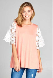 CP-E {Just Friends} Peach Top with White Crochet Lace