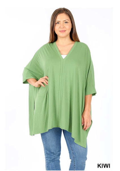 "OCS-L {SALE!!}  ""Come Alive"" Multi Color Cold Shoulder Sheer Tunic"