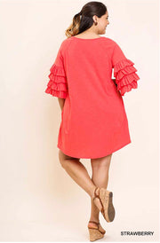 "SQ-M {Jet Lag} Coral ""UMGEE"" Dress with Layered Sleeves"